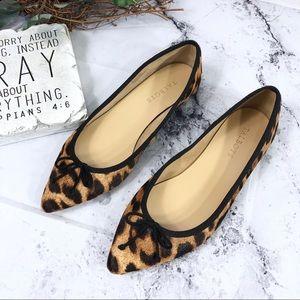 Talbots leopard calf hair pointed toe bow flats 9